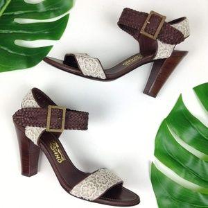 Salvatore Ferragamo Lace Woven Ankle Strap Heels